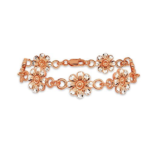 Two-Tone Rose Gold Flashed Sterling Silver Nature Flower Diamond-Cut Charm Link Bracelet