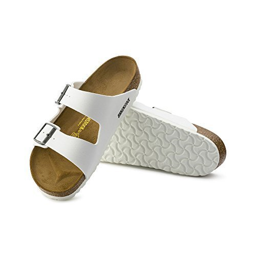 Birkenstock Arizona Unisex Leather Sandal, White/White, 43 M EU - Buckle Womens Multi