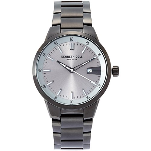 Cole Silver Dial - Kenneth Cole Men's 42mm Gun Metal Steel Bracelet & Case Quartz Silver-Tone Dial Analog Watch KCC0131004