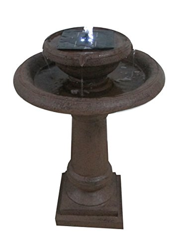 2 Tier Round Brownstone Solar Birdbath ASF308A by Patriot