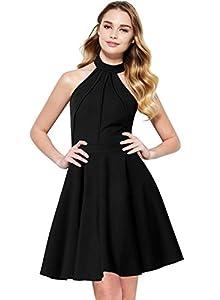 Berydress Women's Sleeveless Halter Neck A-Line Casual Party Dress