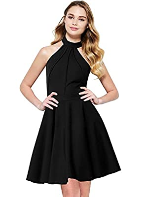 Berydress Women's Sleeveless Halter Neck A-Line Casual Party Dress
