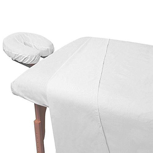 Atlas 2-Piece Economy Massage Table Flat Draw Sheet, Large White Linen, 130 TC 66x104'', Massage Centers - Nursing Homes - Spas - Medical - Massage Tables - Chiropactors - Schools - Cruise Ships by Atlas