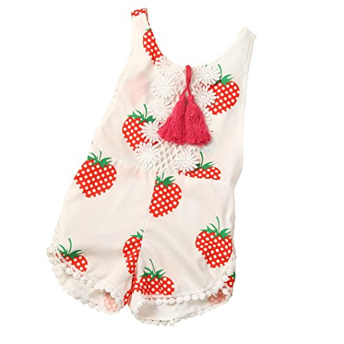 [FEITONG Toddler Infnt Baby Girls Maple Leaf Print Sleeveless Tassel Romper Jumpsuit (24 Months,] (Halloween Costumes For 16 Month Old Girl)