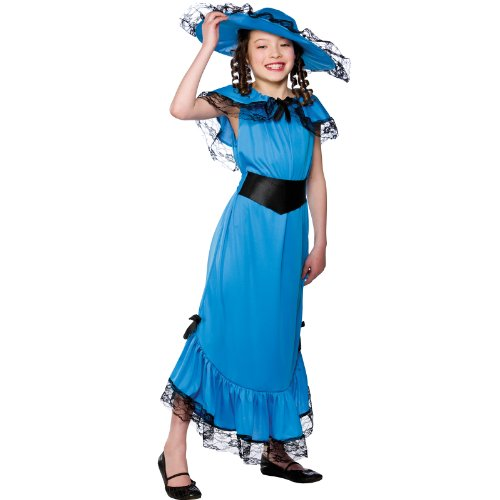 Fire Girl Costume Uk (Girls Blue Victorian Lady Costume Fancy Dress Up Party Halloween Childs Large)
