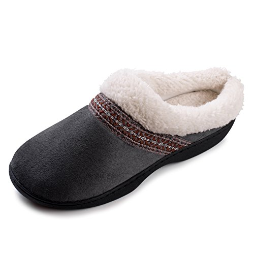 (Beverly Rock Womens Native American Embroidered Fleece Lined Clog Slippers Charcoal Grey)