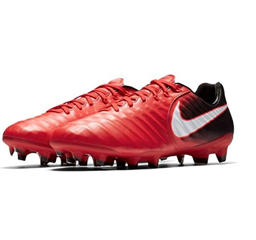 NIKE Men's Tiempo Legacy III FG Soccer Cleat (Red, Black)