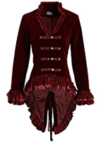 Womens Burgundy Velvet Victorian Steampunk Tail Jacket with Back Lacing