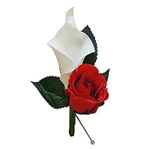 Boutonniere For Wedding And Prom(XLCLBN006-RD) - Artificial Flowers - nice quality calla lily and rose for wedding and prom (Red) 65