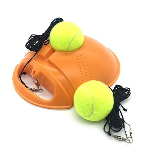Linkin Sport Tennis Trainer Rebound Baseboard Self Tennis Training Tool Ball Back Training Gear with 2 String Balls (Orange-2 - Rebound Board