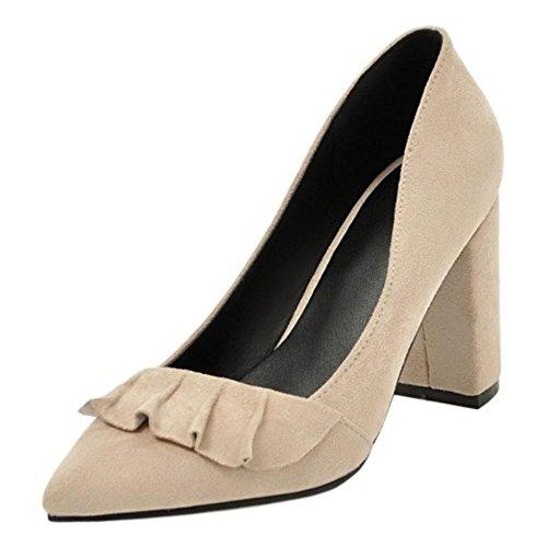 TAOFFEN Women's Slip On Court Shoes Heels Beige OjXR4YeTu