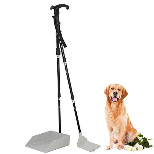 Living Express Dog Pooper Scooper - 37' Large Poop Scooper Tray and Rake Set Long Handle for Pet Waste Pick Up