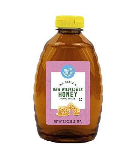 Amazon Brand - Happy Belly Raw Wildflower Honey, 32 ounce (Previously Solimo)