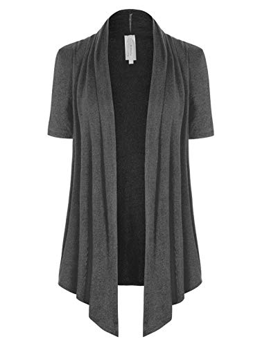 MixMatchy Women's [Made in USA] Solid Jersey Knit Short Sleeve Open Front Draped Cardigan (S-3XL) Charcoal S - Knit Lace Shawls