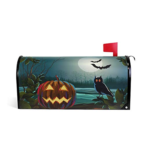 WOOR Spooky Halloween with Pumpkin and Owl Magnetic Mailbox Cover Oversized-20.8