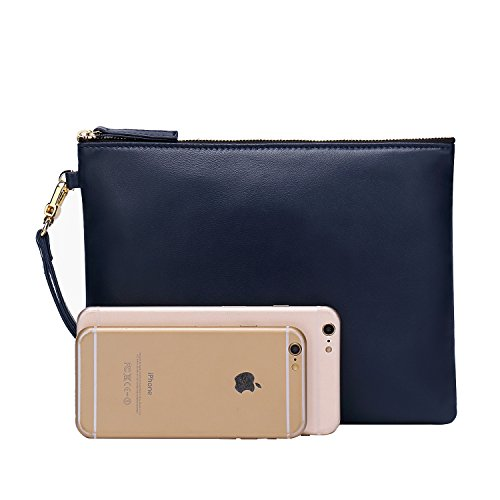 Designer Wristlet Large With Soft Strap for Women Genuine Wallets Blue Leather Lambskin Clutch x80vHw