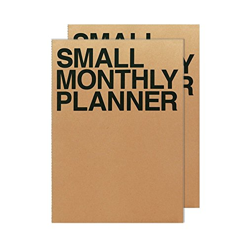 JSTORY Small Monthly Planner Organizer X2 14 Sheets Brown