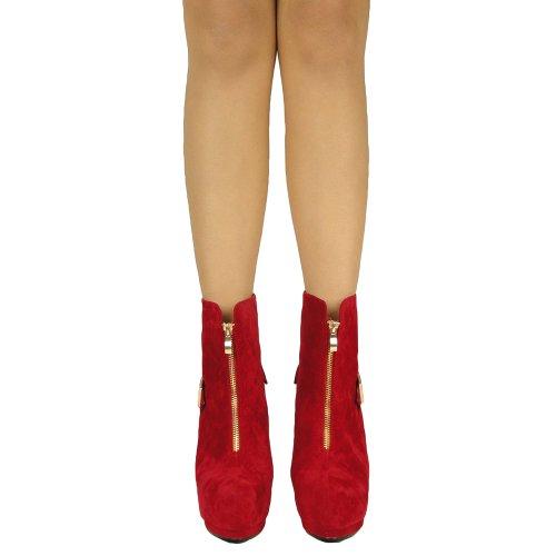 Bottines Femmes Sexy Double Plate-forme Boucle Haut Talon Chaussures Daim Rouge