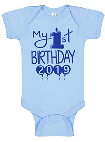 - Reaxion Aiden's Corner Handmade 1st Birthday Baby Clothes - Baby Boy My First Birthday Bodysuits & Shirts (12 Months, 2019 Royal Lt Blue)