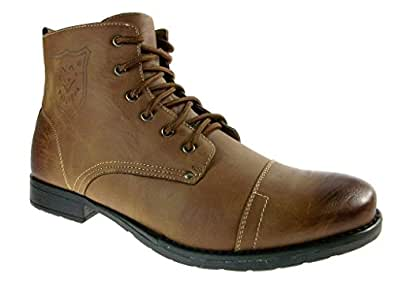 Polar Fox Men's 537-Brown Ankle High Military Combat Boots, Brown, 7.5