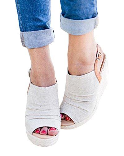 PiePieBuy Women's Peep Toe Platform Wedge Sandals Suede Ankle Strap Buckle Espadrille Sandals Shoes (8.5 B(M) US - EU Size 39, White) Peep Toe Suede Platforms
