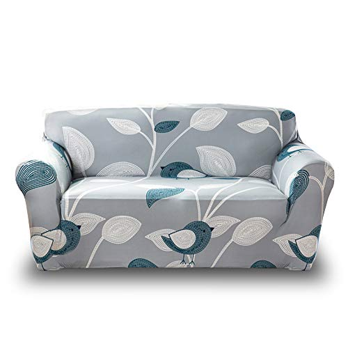 HOTNIU Stretch Sofa Slipcover Polyester Spandex Couch Covers 1-Piece Printed Sofa Furniture Cover/Protector for Living Room (Loveseat, Printed #31) (Standard Length Loveseat)