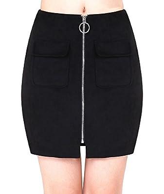 Dasbayla Women's Cute Faux Suede Mini Pencil Skirt-16 inch Length