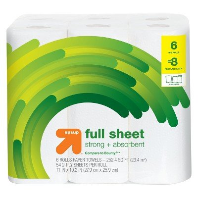 Full Sheet Paper Towels - 6 Big Rolls- up&Up153; (Compare to Bounty174;)