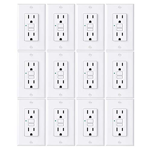 [12 Pack] BESTTEN 15A GFCI Outlets, Slim, Non-Tamper-Resistant GFI Duplex Receptacles with LED Indicator, Auto-Test Ground Fault Circuit Interrupter with Decor Wall Plates, UL Listed, White, USG5 ()
