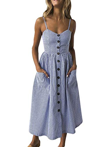 SWQZVT Women's Dress Summer Spaghetti Strap Sundress Casual Floral Midi Backless Button Up Swing Dresses with Pockets Dark Blue Striped S ()