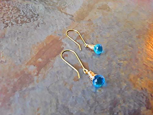 Blue Topaz Wire Wrapped Petite Briolette Long Hook Earrings Gold