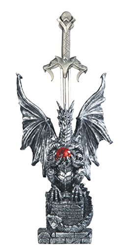 "Major-Q G9071464 11"" High Resin Fantasy Medieval Magical Mythical Silver Western Dragon with Sword/Letter Opener Statue Figerine"