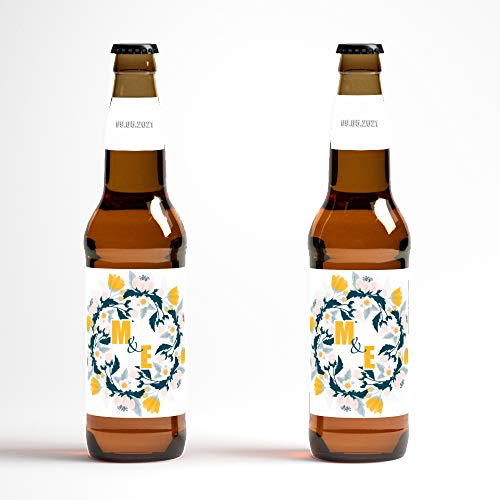 Wedding Engagement Announcement Monogram Flower Beer Bottle Labels - set of 12 labels