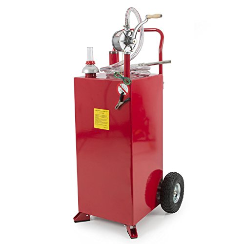 30 Gallon Red Gas Caddy Tank Gasoline Fluid Diesel w Rotary Pump and Hose New by allgoodsdelight365