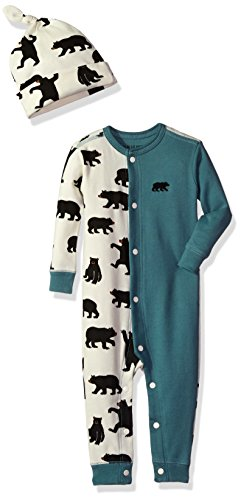 Little Blue House by Hatley Baby Boys' Romper and Cap, Black Bears/Newport Blue, 18-24M
