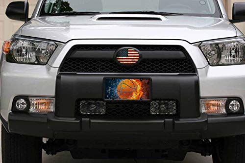 WONDERTIFY License Plate Basketball on Water and Fire Background Decorative Car Front License Plate,Vanity Tag,Metal Car Plate,Aluminum Novelty License Plate for Men//Women//Boy//Girls Car,6 X 12 Inch