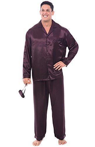 Alexander Del Rossa Men's Button Down Satin Pajama Set with Sleep Mask, Long Silky Pjs, Large Plum (A0752PLMLG)