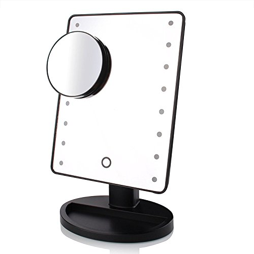 TFCFL Lights Makeup Mirror 16 LED Light, 180 Free Rotation Movable Perfect Touch Dimmable with Removable Magnifying(Black)