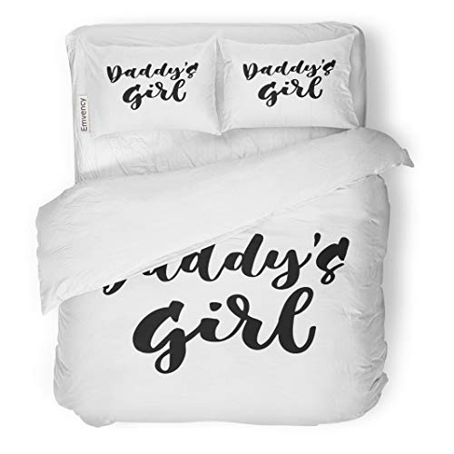 (Semtomn Decor Duvet Cover Set Full/Queen Size Baby Daddy Girl Hand Lettering Quotes to Babies Nursery 3 Piece Brushed Microfiber Fabric Print Bedding Set)