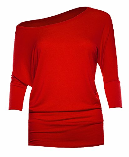 Womens 3/4 Sleeve Soft Off The Shoulder Scoop Neck Casual Top Blouse