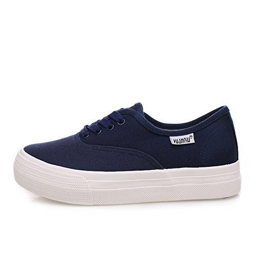 lienzo de caída global/Zapatos de mujer/Versión coreana de zapatos bajos con cordones suela gruesa plataforma/ zapatos casuales moda A