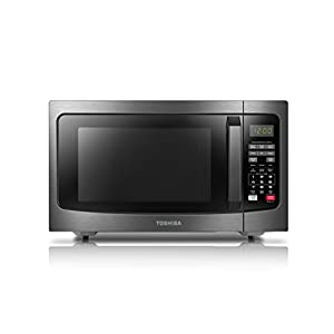 Toshiba EM131A5C-BS Microwave Oven with Smart Sensor Easy Clean Interior and LED Lighting, 1.2 Cu.ft/1100W, Black Stainless Steel