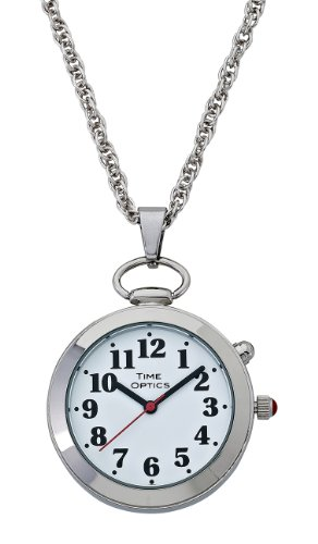 TimeOptics Women's Talking Silver-Tone Pendant Alarm Watch