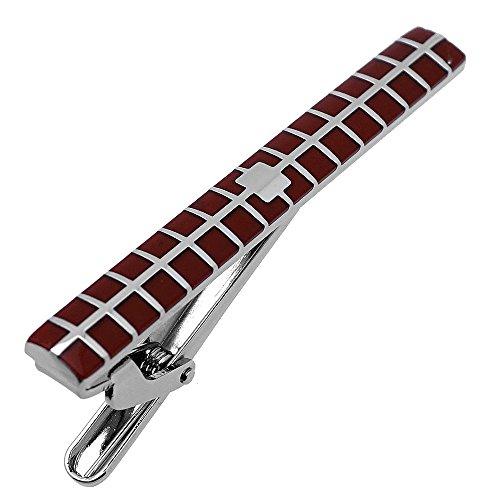 Tie Clips Burgundy Check