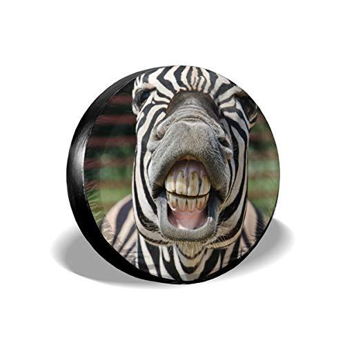 EQAZV Zebra Smile and Teeth Waterproof UV Sun RV Trailer Tire Protectors Universal Fit Spare Tire Cover