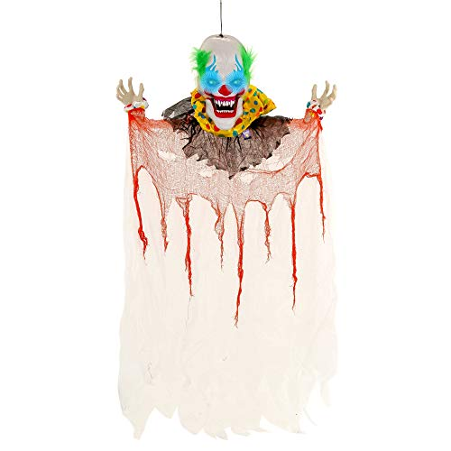 Terrifying Halloween Decorations (Halloween Haunters Animated Hanging 6 Foot Scary Over-Sized Circus Clown Face with Moving Jaw Talking Mouth Prop Decoration - 3 Spooky Phrases, LED Eyes, Menacing Ghoul Smile - Battery)