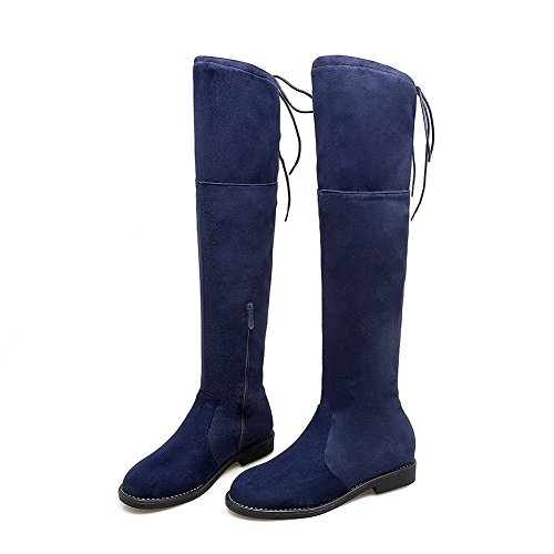 Closure Womens Suede No Retro Round Toe Boots BalaMasa Blue q7Stawq