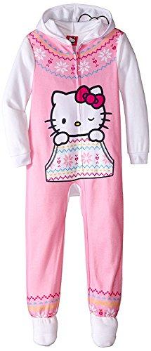 - Hello Kitty Big Girls' Hooded Fleece Blanket Sleeper, White, X-Small