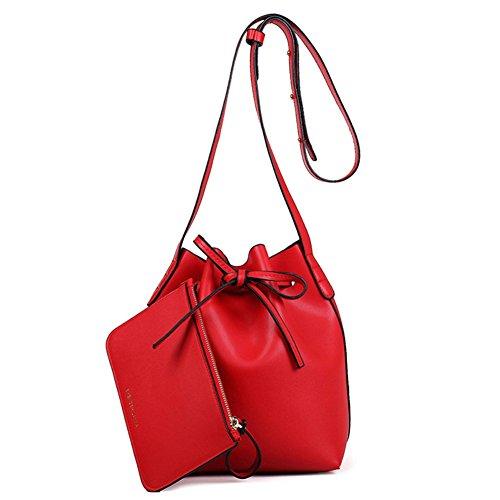 Shiraleah Print Clutch (FCZERO HB10057 PU Leather Handbag for Women,Korean Version & Trend Star With Money Bucket Bag,Red)