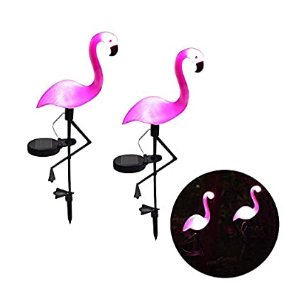 GOBEAUTY LED Solar Garden Light Simulated Flamingo Lawn Lamp Waterproof Solar Led Lights Outdoor for Garden Decoration Lighting (2 Pack,Pink)